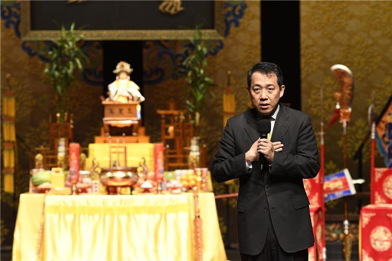 文化部楊子葆次長說:祖師爺在上,見證祖師爺的安座,既是文化傳統的延續,也代表劇場即將正式啟用。
