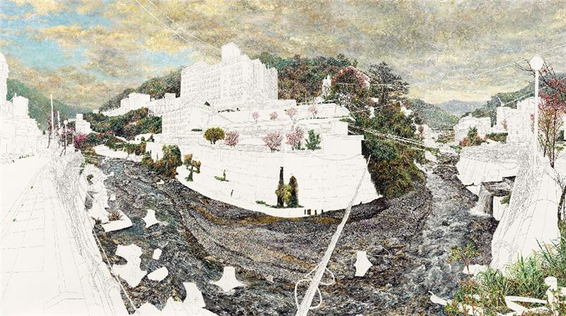 洪天宇〈廬山2000年〉2004 油彩、鋁板 182×348 cm