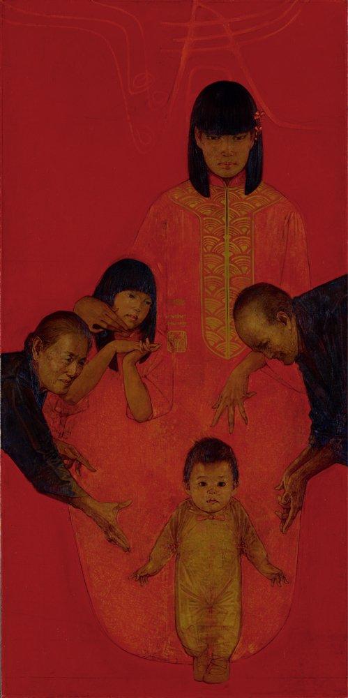 黃銘哲〈春釐〉1982 油彩、畫布 154×76 cm