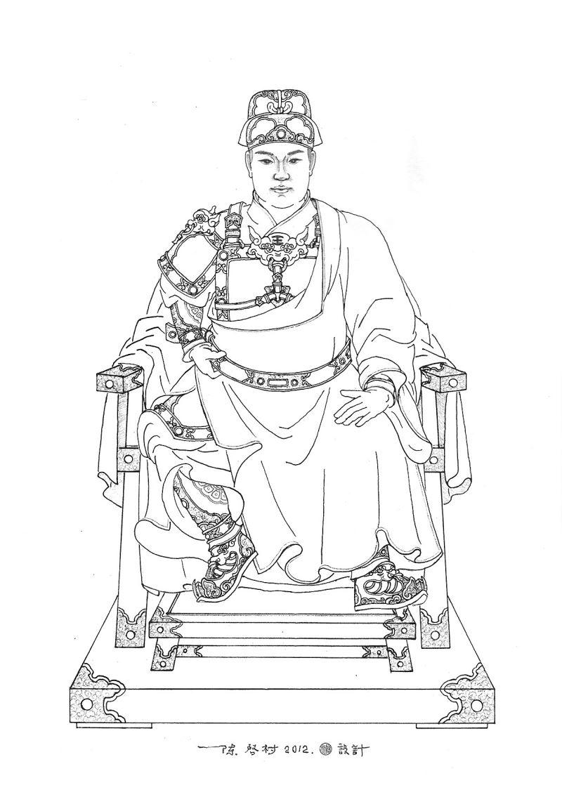 木雕作品〈王爺〉的設計線圖。