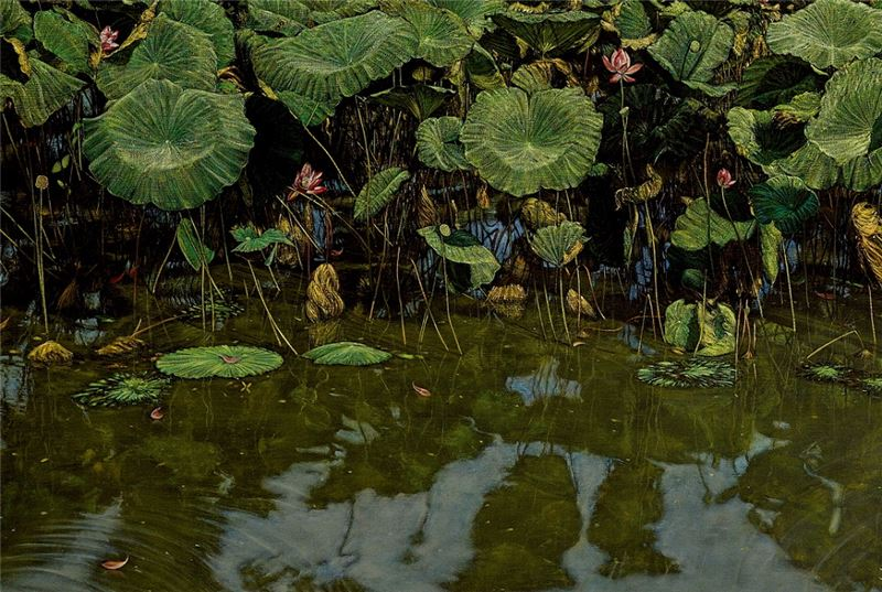HUANG Ming-Chang〈Cattle Bathing in the Lotus Pond (Paddy and Lotus Series)〉Detail