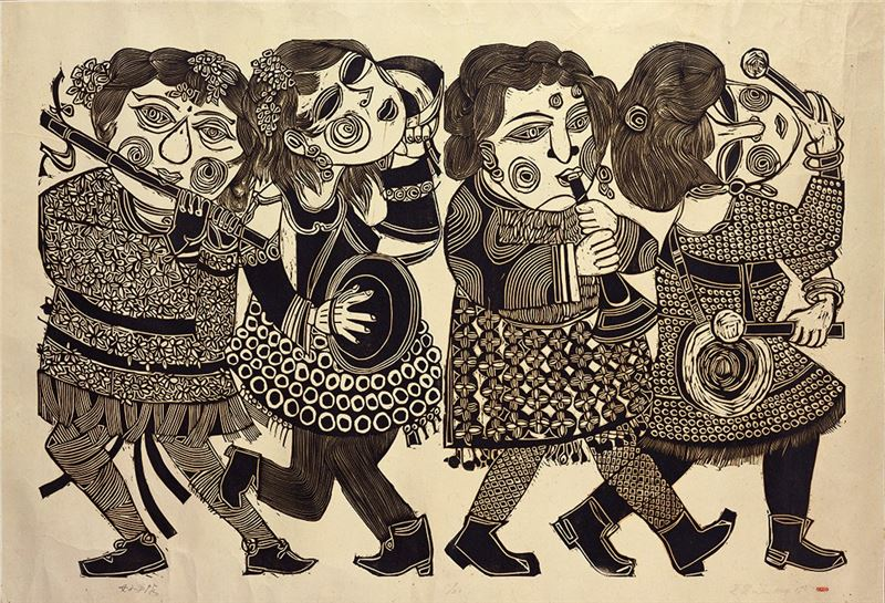 Wu Hao〈An All-female Music Band〉1967 Woodcut 61×93 cm