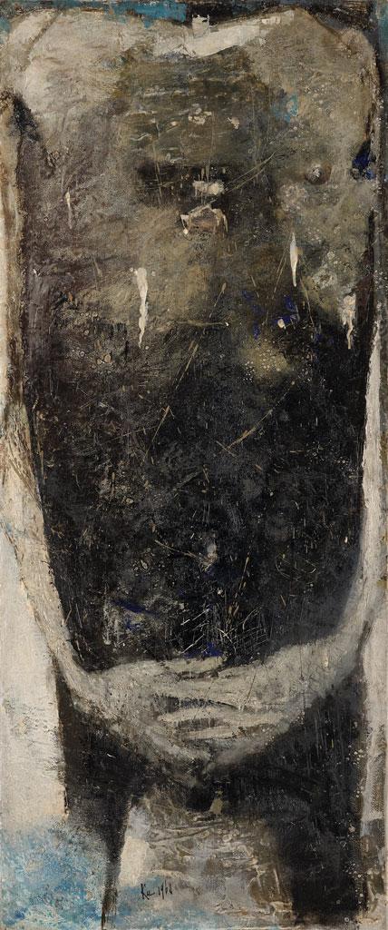 顧福生〈人〉1960 油彩、畫布 115×48.5 cm