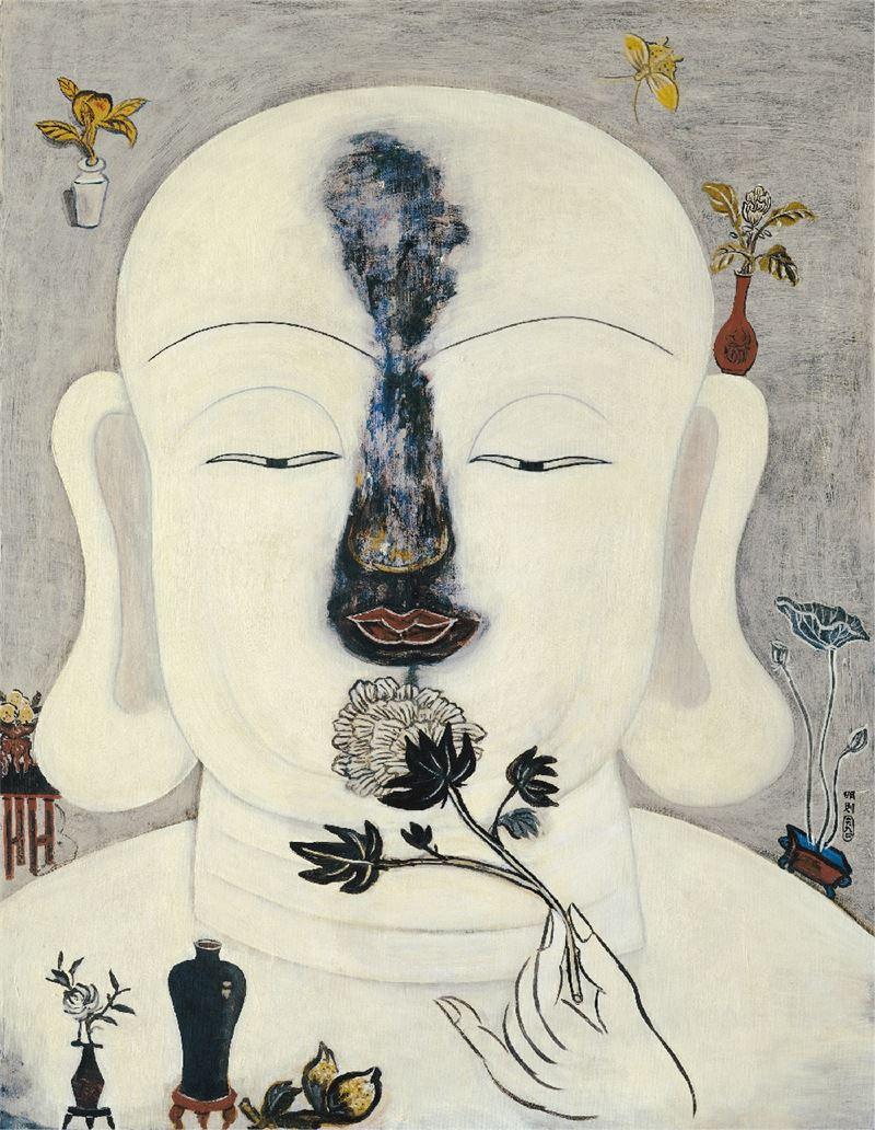 李明則〈起心動念-透明的風〉1994 壓克力彩、水彩紙 117×90.5 cm
