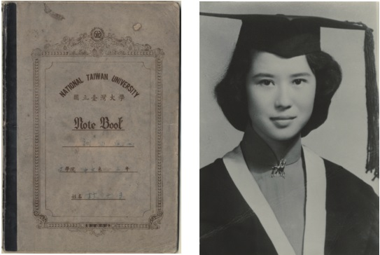 1956: Class notes (left) and graduation photograph (right).
