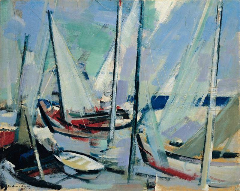 何肇衢〈碼頭〉1969  油彩、畫布  72.5×91 cm