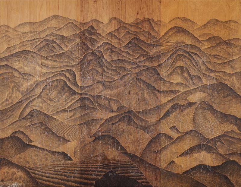 彭賢祥〈遠村〉1999 綜合媒材 213.5×275 cm