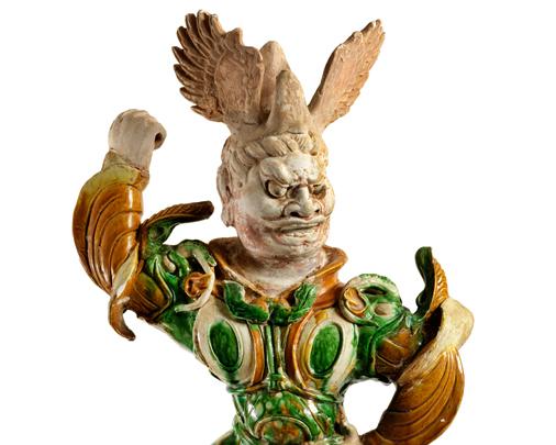 Tri-colour  Lokapala  figure, detail-Large