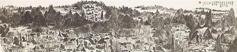 于彭〈仙鄉〉1998 水墨、紙本 53×232 cm