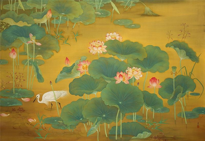 Lin Yu-shan〈Lotus Pond〉1930 Gouache on silk 146.4×215.2 cm