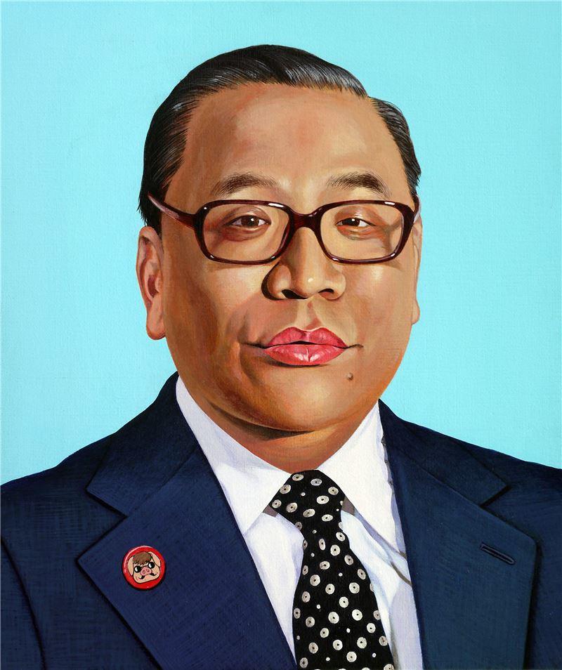 陳擎耀〈親愛的領導先生,我們愛您〉局部 2013-2014 油彩、畫布 45.5×38 cm×11 pieces