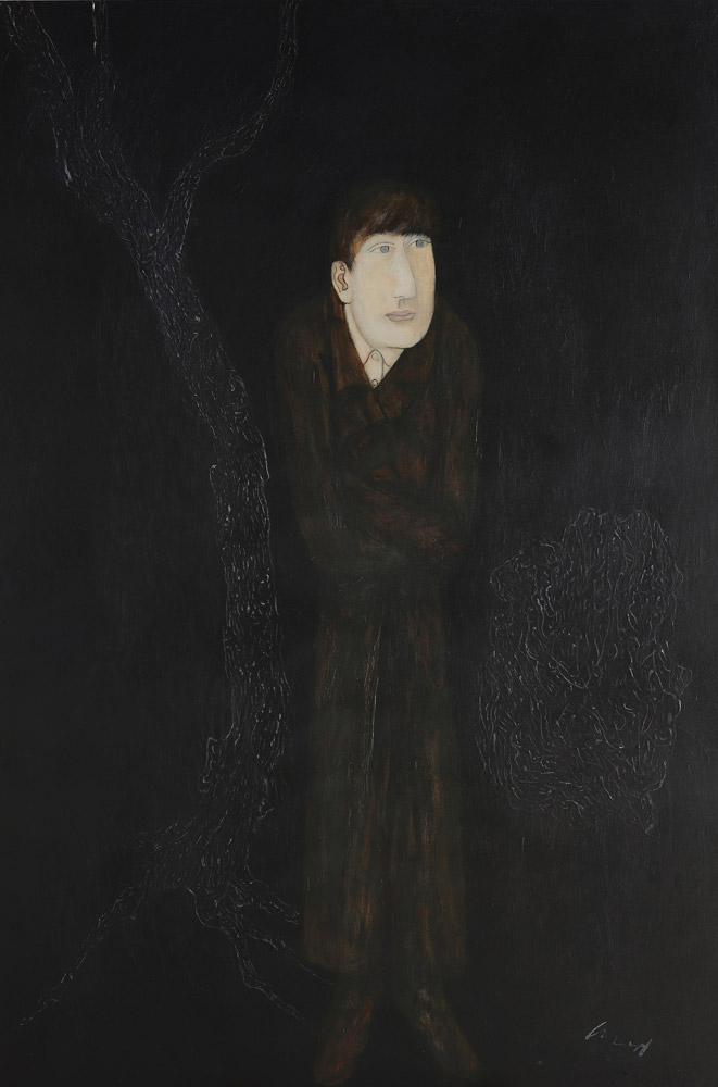 邱亞才〈書生〉1989 油彩、畫布 195×130 cm