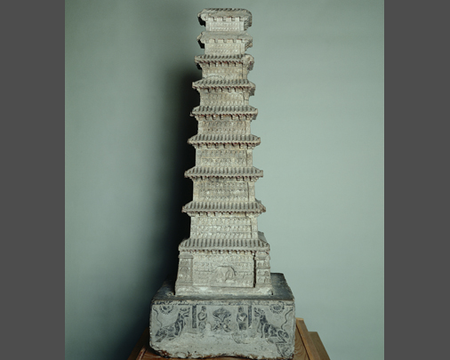 Nine-storied stone pagoda, frontal view-Large