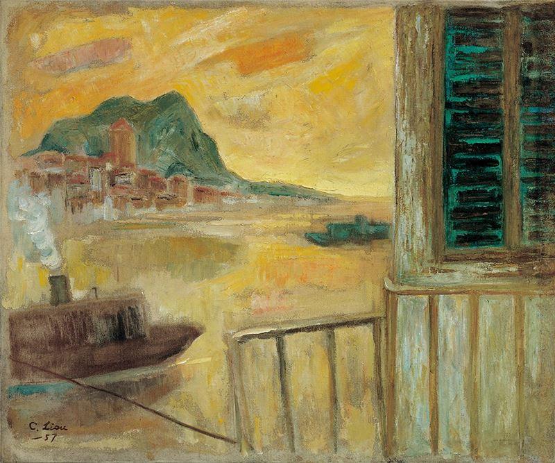 劉啟祥〈港灣〉1957  油彩、畫布  65×78.5 cm