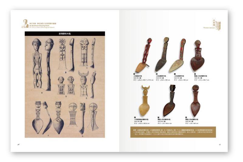 圖2 排灣族的木匙,左為圖繪,右為典藏文物對照。