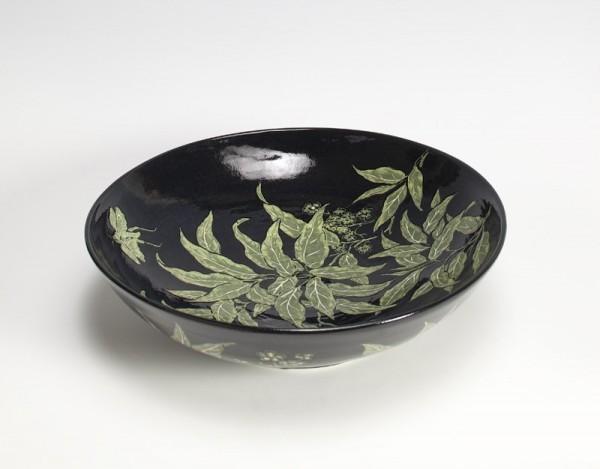 2010 | Large Black Glazed Bowl with Fern Pattern