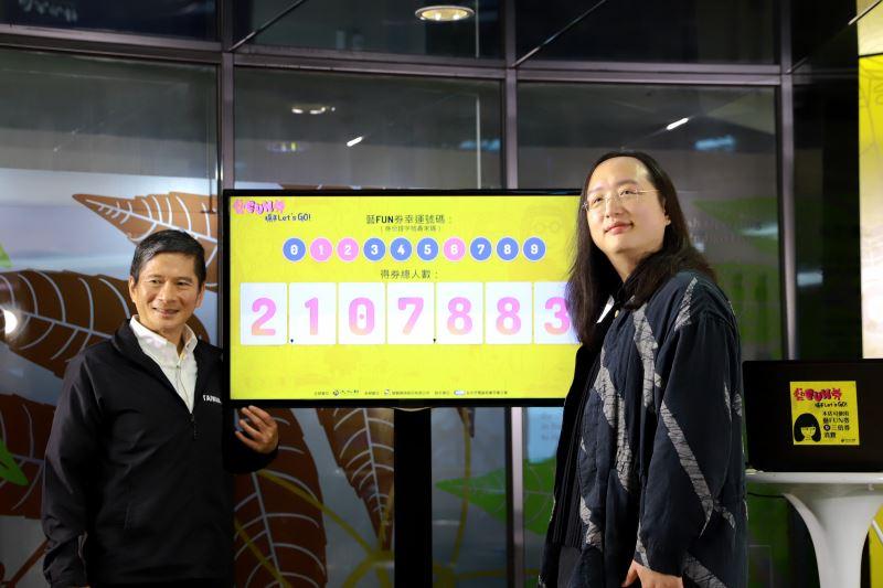 藝FUN券以身分證(居留証)末碼尾數為依據進行抽獎,共抽中210萬7,883位幸運得主。