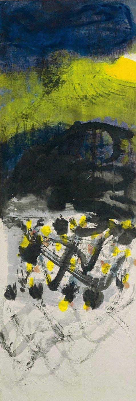 李重重〈山之戀〉1998 水墨設色、紙本 174×60 cm