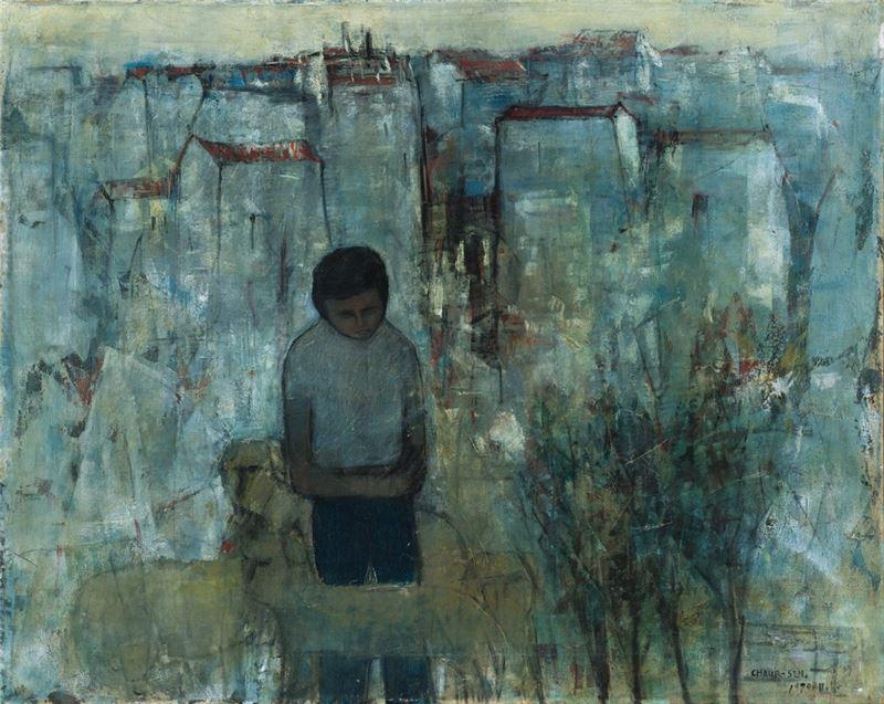 潘朝森〈念故鄉(懷鄉者)〉1970 油彩、畫布 80×100 cm