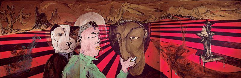 黨若洪〈人物、自我-三位一體,痛苦的場景〉2009 油彩、木板 122×366 cm