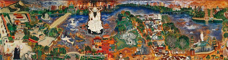 Li Ming-tse〈Lotus Pond in Zuoying〉2004 Acrylic on canvas 291×1092 cm