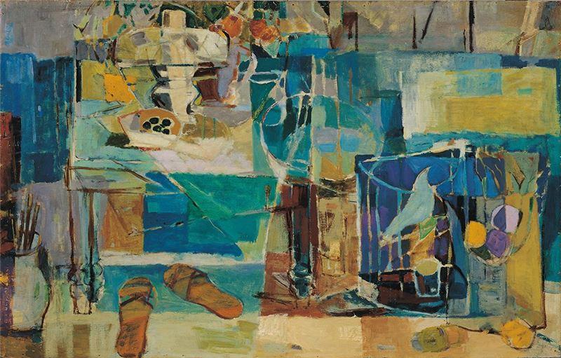 賴傳鑑〈畫室〉1962  油彩、三夾板  73.8×116.5 cm