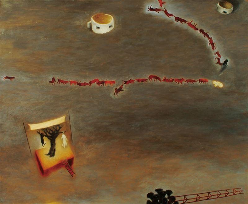 蘇旺伸〈野台戲〉2002 油彩、畫布 140×170 cm