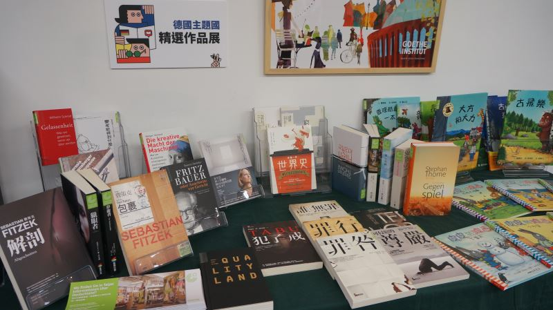 A selection of books to be offered by the German pavilion.
