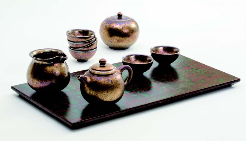 Resplendent Tenmoku Tea Set  made by Lukang Kiln