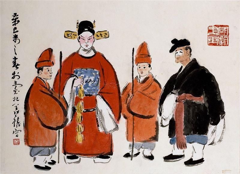 鄭善禧〈國劇人物〉1979 水墨、紙本 49×67 cm