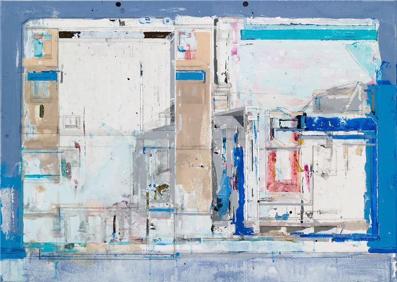陳建榮〈Landscape 97〉2013 壓克力顏料、畫布、複合媒材 64.5×91 cm