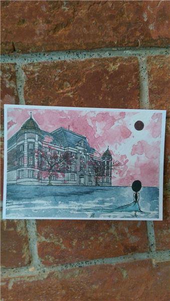 臺文館建築手繪明信片POST CARD ●繪圖:池瑞庭 ●材質:紙 ●售價:新臺幣NT25元
