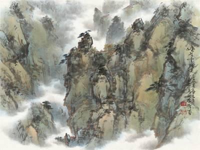 羅振賢_峽谷雲煙迷_68x69cm。