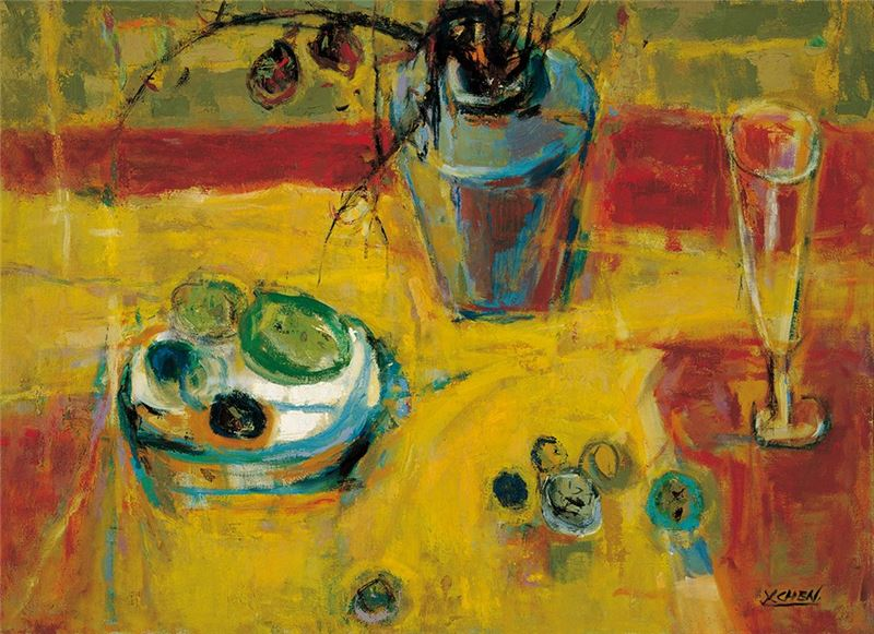 陳銀輝〈靜物〉1979  油彩、畫布  53.5×72 cm