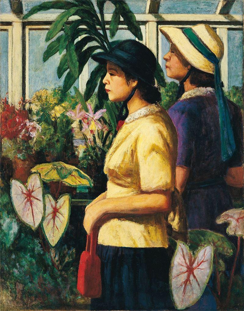 李梅樹〈溫室〉1939 油彩、畫布 116.5×91 cm