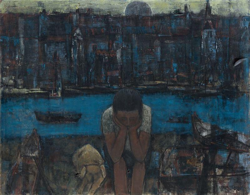 潘朝森〈港邊〉1976 油彩、畫布 90×115 cm