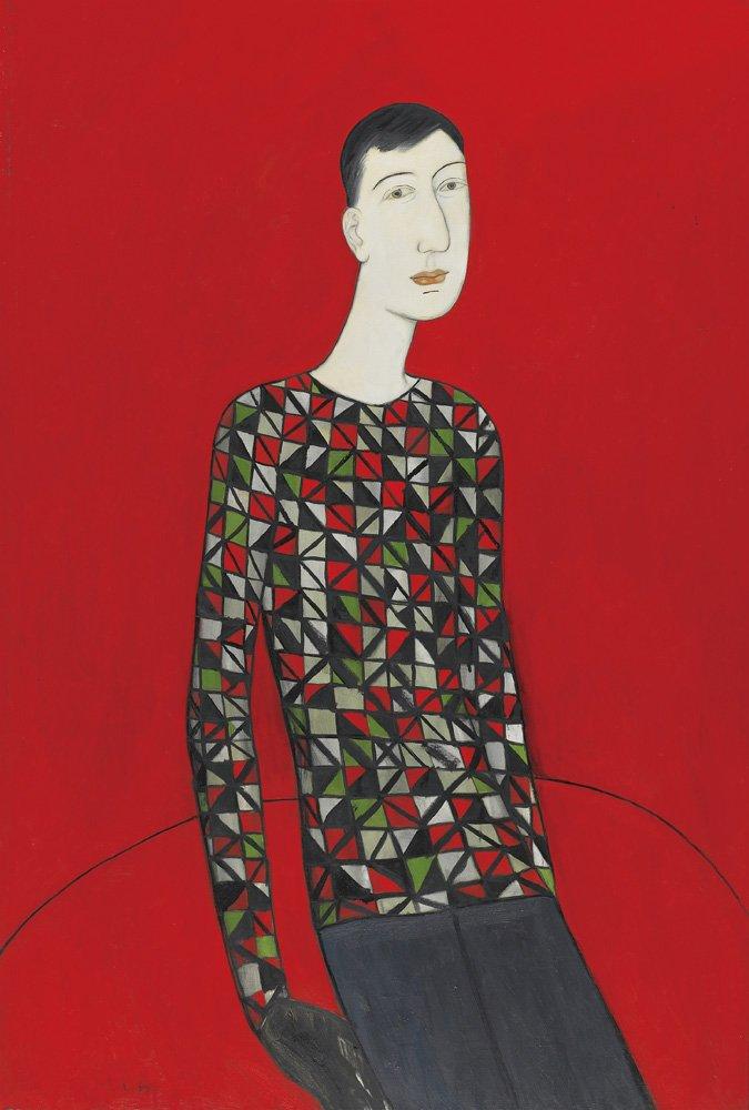 邱亞才〈穿花格的青年〉1993 油彩、畫布 194×130 cm
