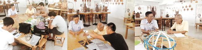 學生們向臺灣工藝之家-李榮烈老師學習竹藝,進行實作課程