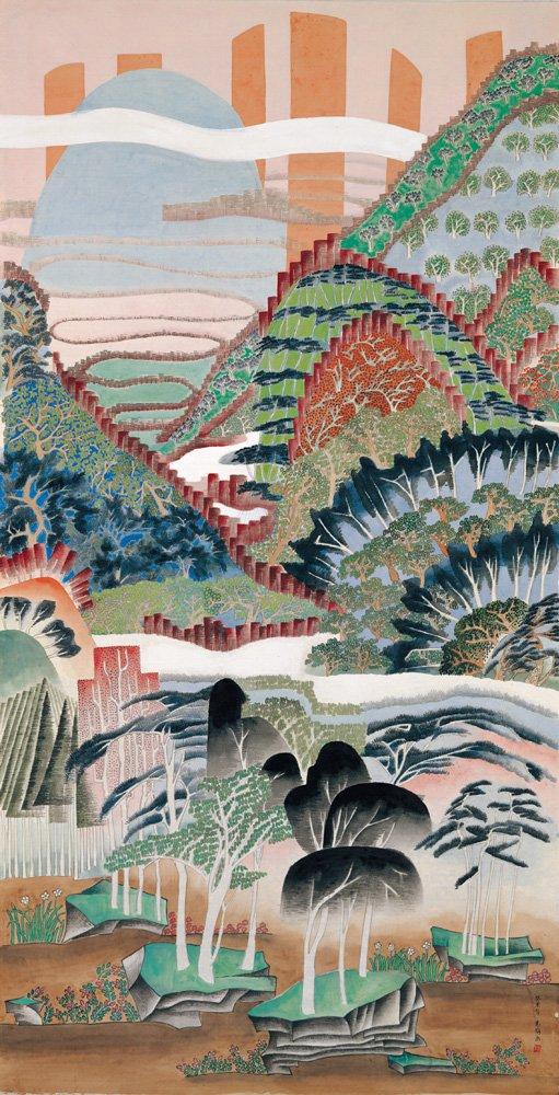 袁旃〈仙境春長(二)〉2003 彩墨、絹本 179.5×92.5 cm