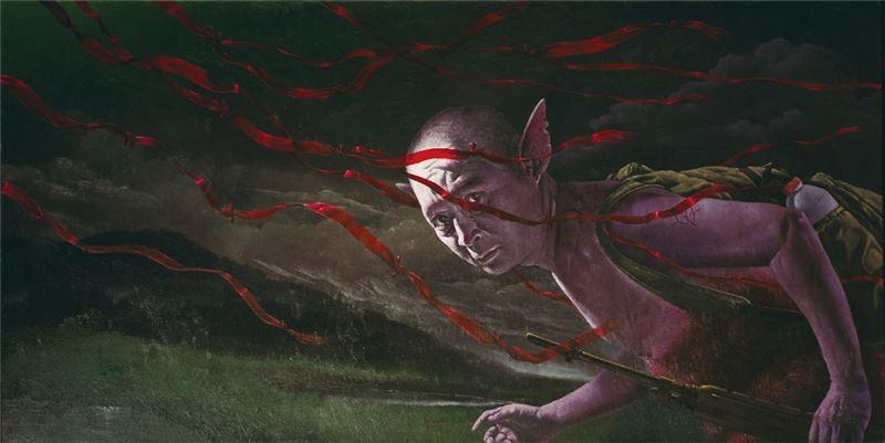 郭維國〈紅絲帶〉1999 油彩、畫布 97×194 cm
