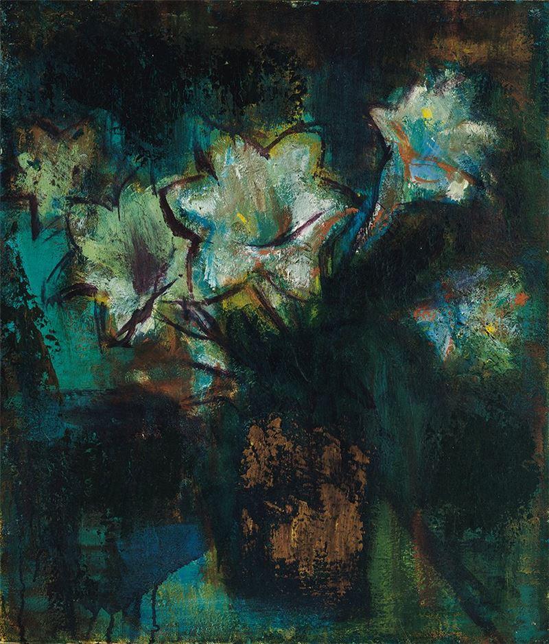 金潤作〈百合花-II〉1960  油彩、畫布  53.5×45.5 cm