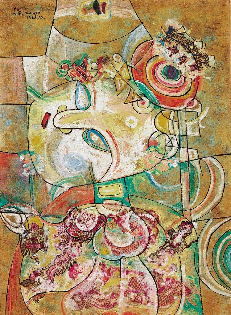 吳昊〈戲〉1965 油彩、畫布 71.5×52 cm