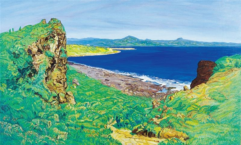 黃朝謨〈風頭(臺灣貓鼻頭)〉2006 油彩、畫布 95×162 cm