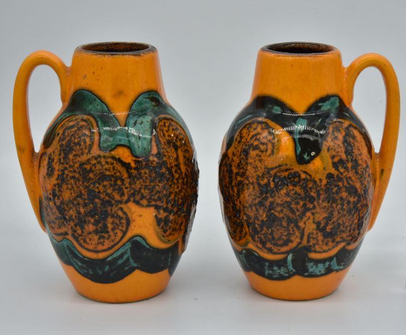 橘底綠紋手把壺2件組,Scheurich出品