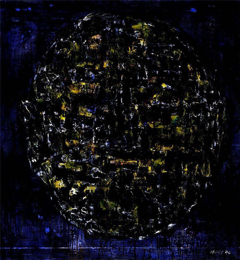 陳水財〈人頭1994-08〉1994 壓克力顏料、墨、畫布 148×148 cm