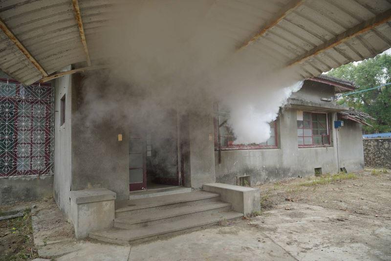 模擬文化資產用火不慎引發火災情景