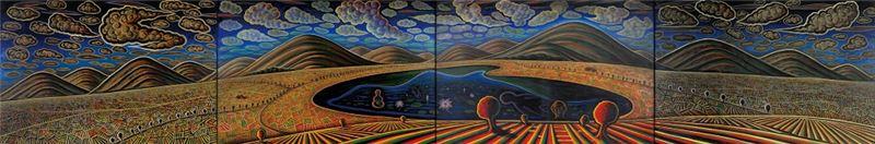陳隆興〈靈山秀水仙蹤〉2000 油彩、畫布 130×776 cm