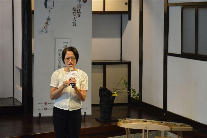 國立臺灣文學館副館長蕭淑貞於活動記者會上致詞