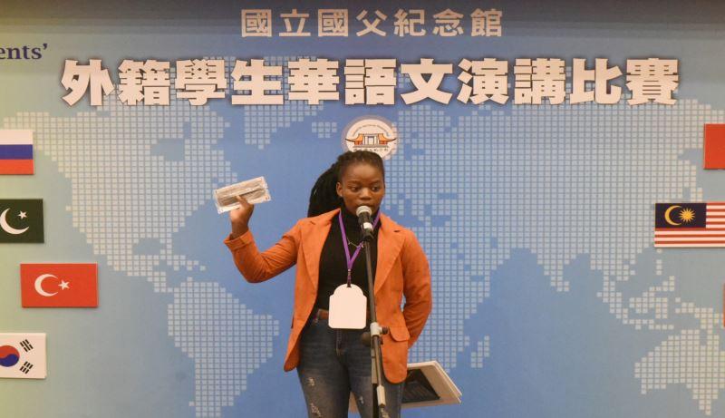 我國非洲唯一邦交國-史瓦帝尼的王思府同學,演說「我看臺灣防疫經驗」。