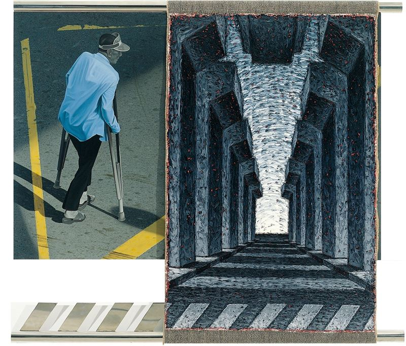 陸先銘〈瀟灑走一回〉1996 油彩、畫布、不鏽鋼物件 180×205×7 cm